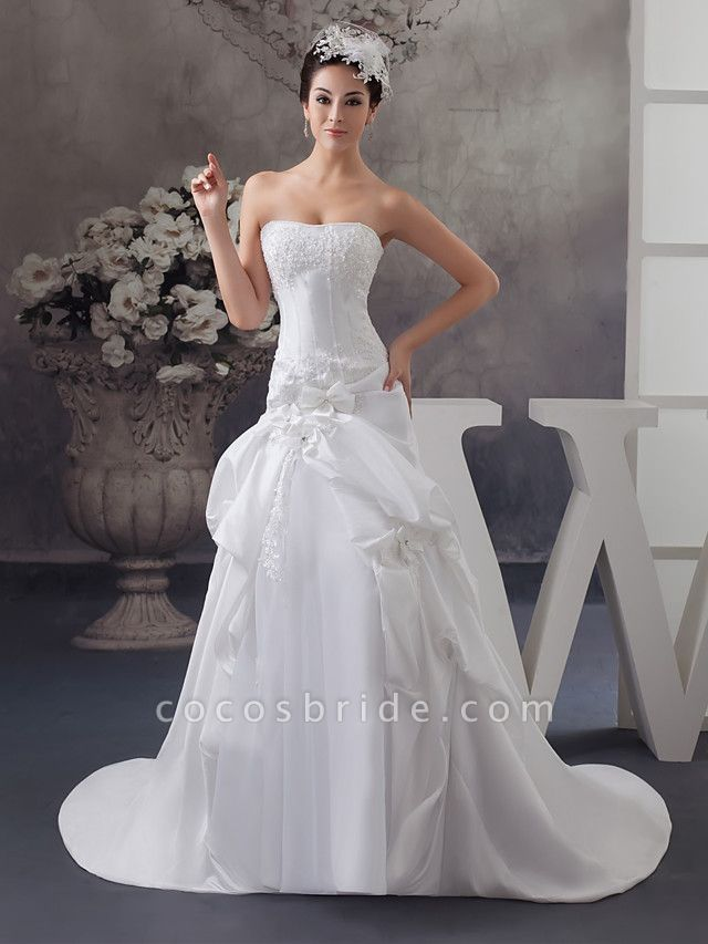 A-Line Strapless Court Train Satin Strapless Wedding Dresses