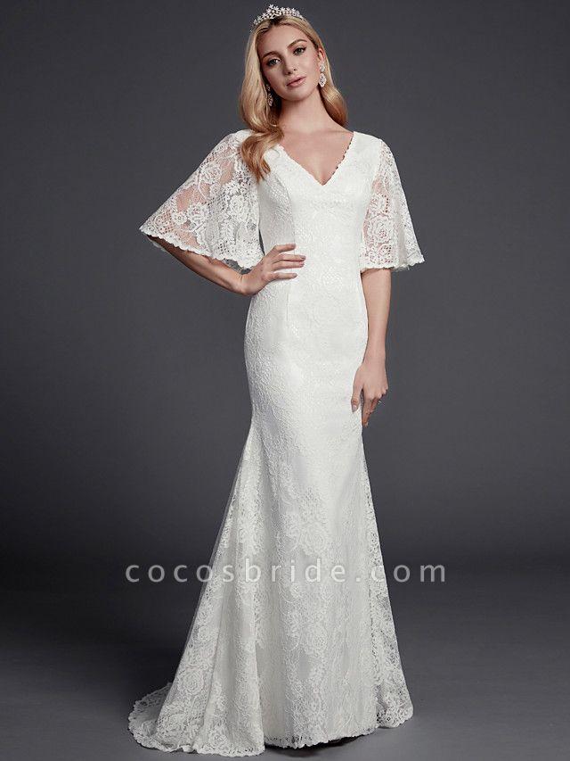 Mermaid \ Trumpet Wedding Dresses V Neck Sweep \ Brush Train Lace Half Sleeve Beautiful Back