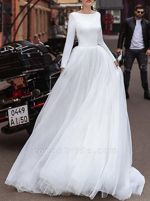A-Line Wedding Dresses Jewel Neck Sweep \ Brush Train Satin Tulle Long Sleeve Simple
