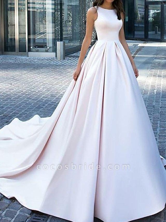 A-Line Wedding Dresses Jewel Neck Sweep \ Brush Train Satin Sleeveless Country Plus Size