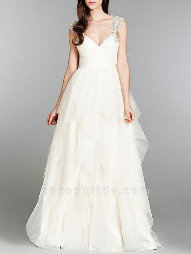 A-Line Wedding Dresses V Neck Sweep \ Brush Train Tulle Chiffon Over Satin Cap Sleeve Sexy Backless