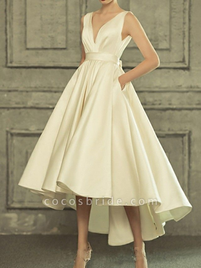 A-Line Wedding Dresses V Neck Asymmetrical Satin Regular Straps Simple Casual Vintage Little White Dress