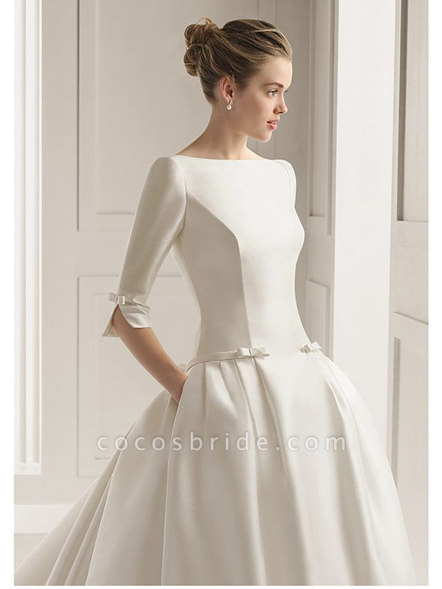 A-Line Wedding Dresses Bateau Neck Court Train Polyester Half Sleeve Sexy Plus Size