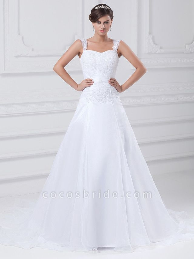 A-Line Wedding Dresses Square Neck Chapel Train Lace Organza Satin Regular Straps