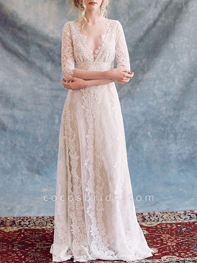A-Line Wedding Dresses V Neck Floor Length Lace Tulle Half Sleeve Formal Boho Plus Size Illusion Sleeve