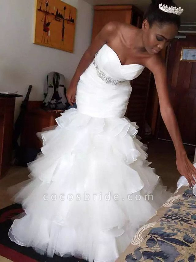 Mermaid \ Trumpet Wedding Dresses Sweetheart Neckline Court Train Organza Tulle Strapless Beautiful Back