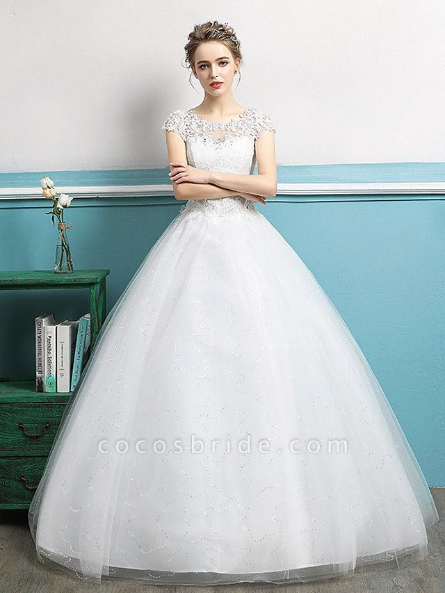 Ball Gown Wedding Dresses Jewel Neck Floor Length Lace Tulle Polyester Short Sleeve Romantic