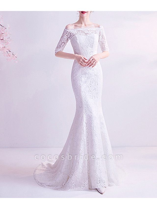Mermaid \ Trumpet Wedding Dresses Off Shoulder Court Train Chiffon Tulle Half Sleeve Formal Illusion Detail Plus Size