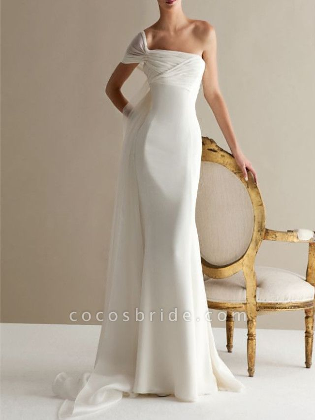 A-Line Wedding Dresses One Shoulder Sweep \ Brush Train Lace Tulle Strapless Formal Plus Size