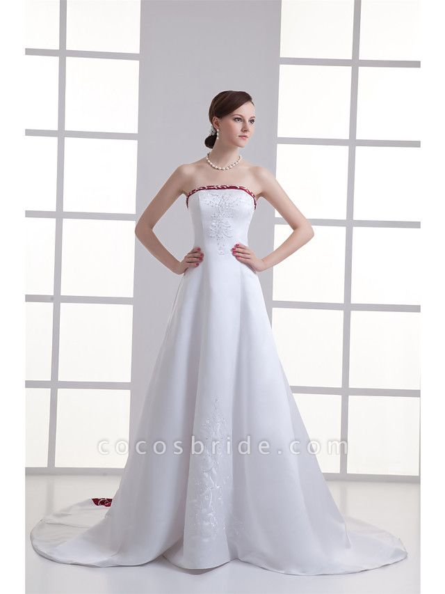 A-Line Strapless Chapel Train Satin Strapless Wedding Dress in Color Wedding Dresses