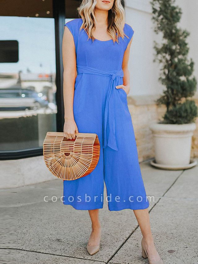 Women's Ordinary Blue Red Yellow Jumpsuit