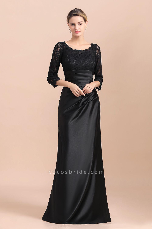 Elegant 3/4 Sleeves Black Satin Lace Ruffles Mother of Bride Dress