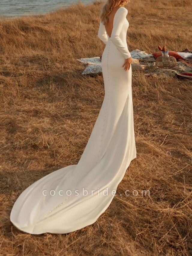 Mermaid \ Trumpet Wedding Dresses Off Shoulder Court Train Chiffon Over Satin Long Sleeve Country Plus Size