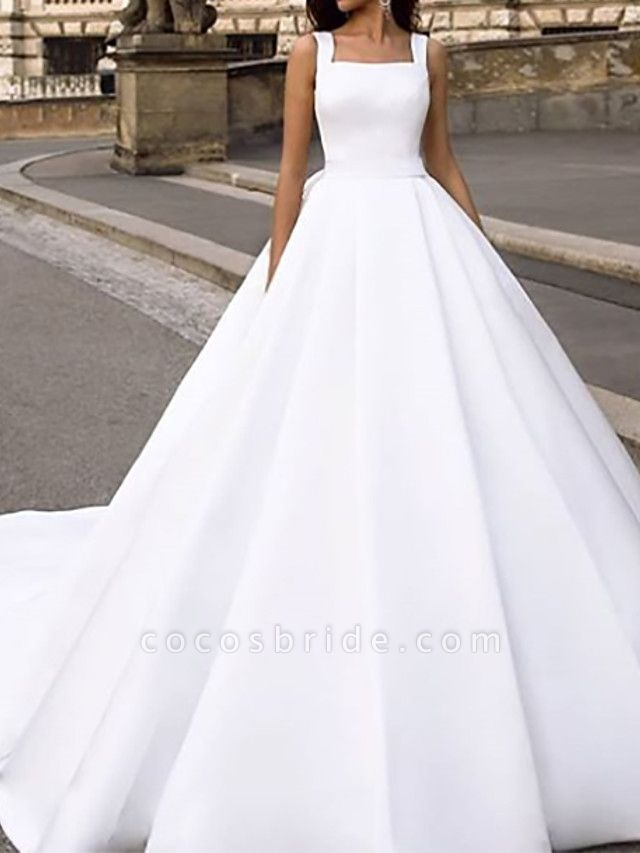 Ball Gown Wedding Dresses Square Neck Court Train Chiffon Over Satin Cap Sleeve Country