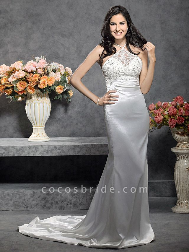 Mermaid \ Trumpet Wedding Dresses Halter Neck Court Train Stretch Satin Sleeveless