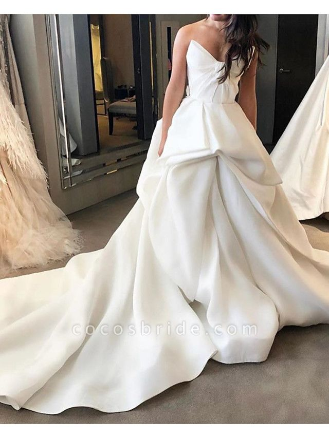 Ball Gown Wedding Dresses Strapless Court Train Polyester Sleeveless Country Plus Size