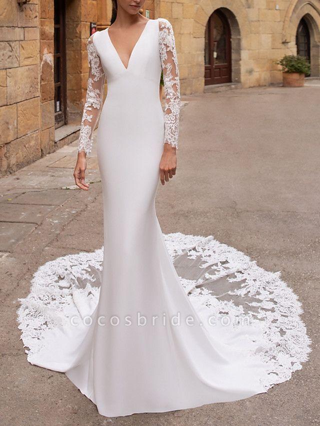 Mermaid \ Trumpet V Neck Court Train Lace Stretch Satin Long Sleeve Plus Size Illusion Sleeve Wedding Dresses