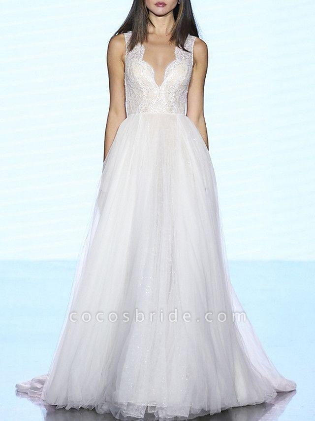 A-Line Wedding Dresses V Neck Sweep \ Brush Train Lace Tulle Regular Straps Plus Size