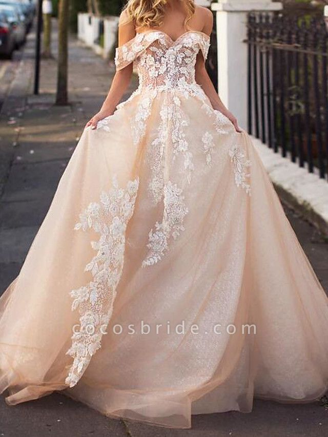 A-Line Wedding Dresses Jewel Neck Court Train Lace Tulle Short Sleeve Formal Wedding Dress in Color