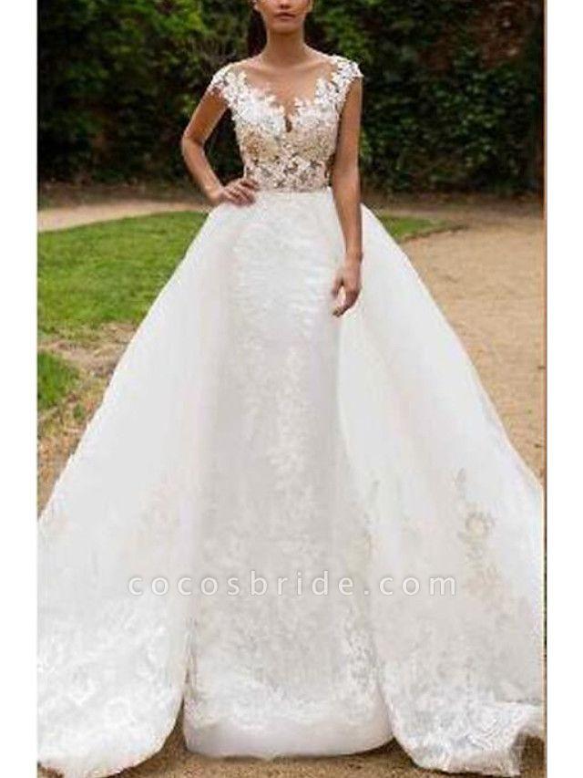 Mermaid \ Trumpet V Neck Sweep \ Brush Train Tulle Regular Straps Formal Wedding Dresses