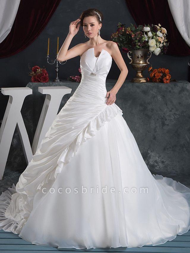 Ball Gown Strapless Court Train Organza Taffeta Strapless Wedding Dresses