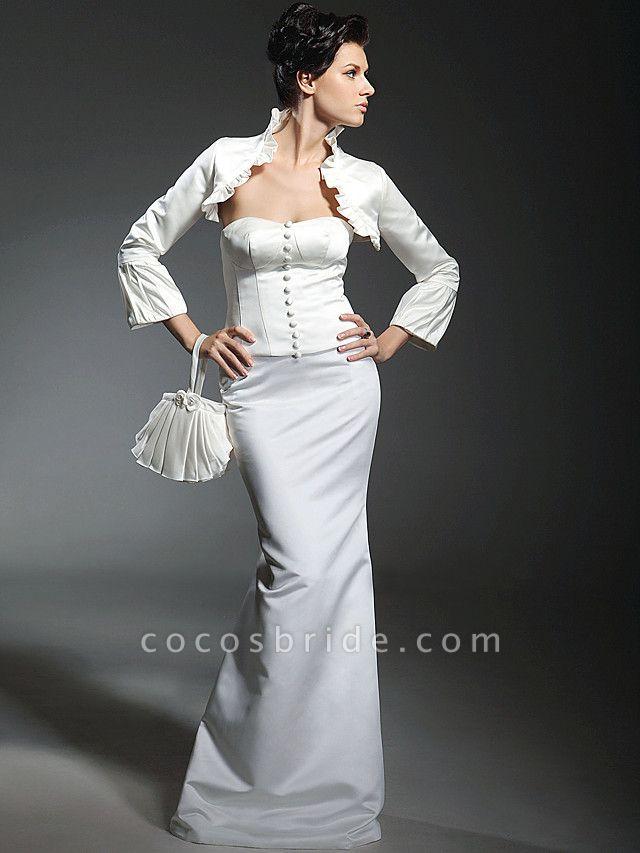 Mermaid \ Trumpet Wedding Dresses Strapless Sweetheart Neckline Floor Length Satin Long Sleeve