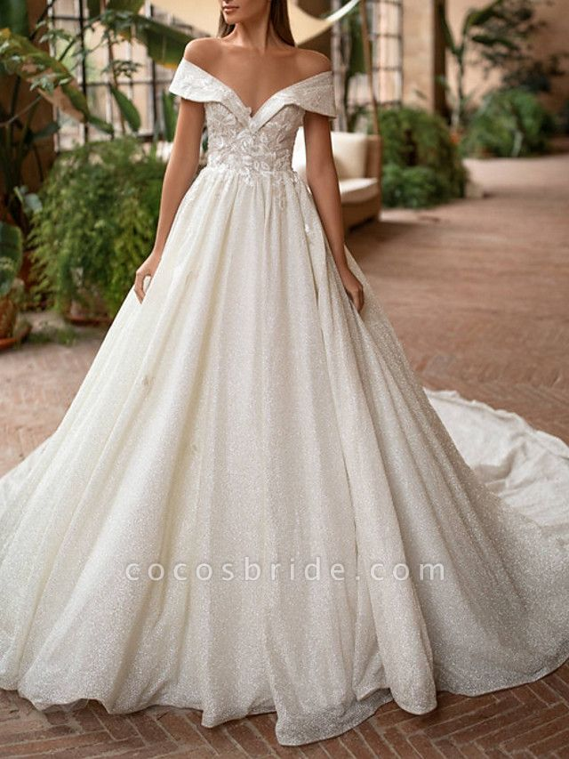 A-Line Off Shoulder Court Train Lace Tulle Short Sleeve Country Illusion Detail Wedding Dresses