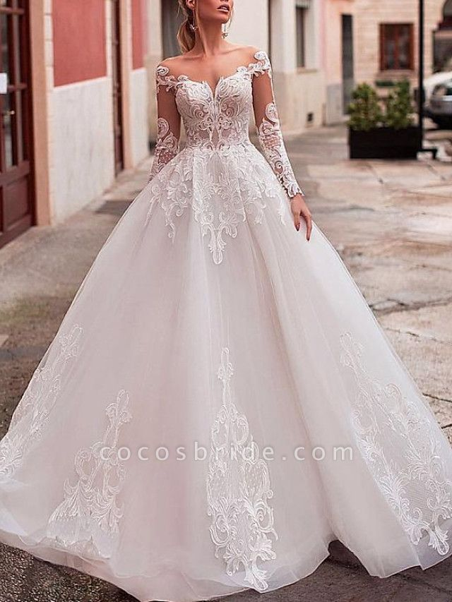A-Line Wedding Dresses Jewel Neck Sweep \ Brush Train Lace Tulle Long Sleeve Formal Sexy See-Through Backless