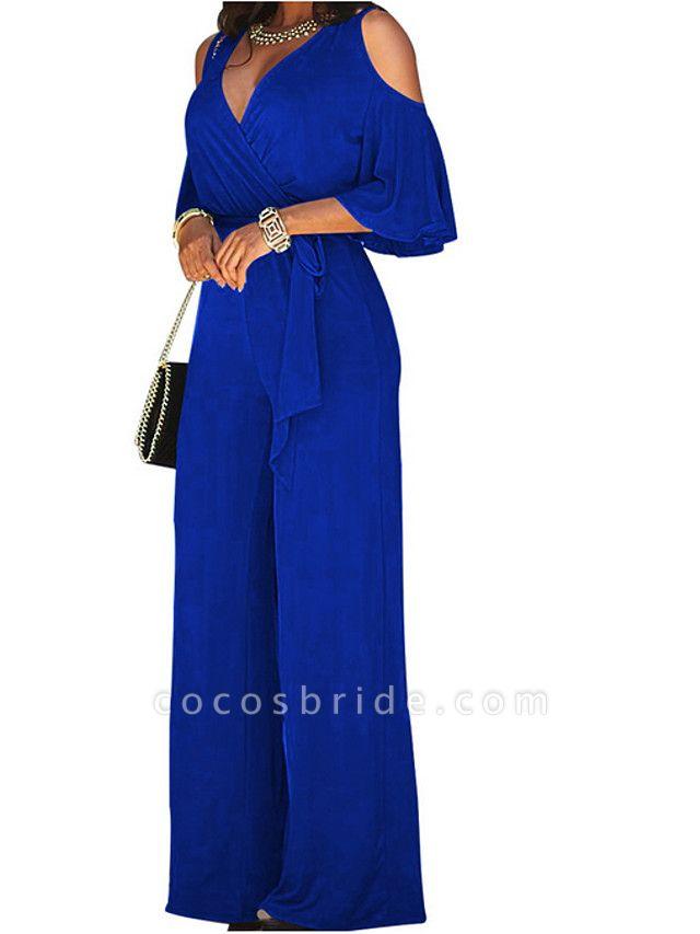 Women's Wide Leg Cut Out Party Off Shoulder Black Wine Royal Blue Wide Leg Jumpsuit
