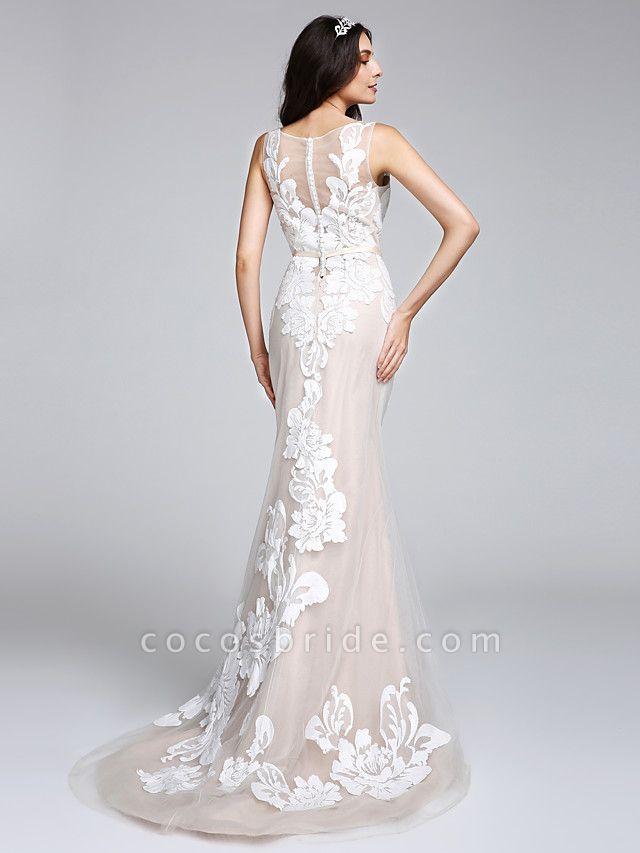 Mermaid \ Trumpet Wedding Dresses Bateau Neck Sweep \ Brush Train Tulle Floral Lace Regular Straps Romantic Boho Sexy See-Through Illusion Detail