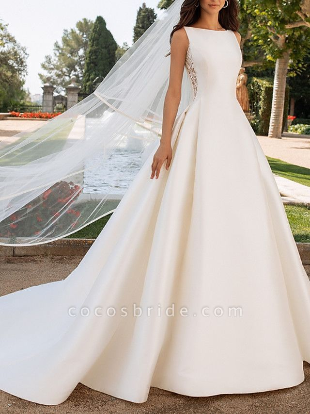 A-Line Wedding Dresses Bateau Neck Court Train Satin Regular Straps Romantic Plus Size Elegant
