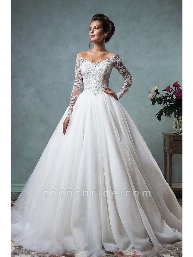 A-Line Wedding Dresses Off Shoulder Court Train Lace Tulle Long Sleeve Formal See-Through