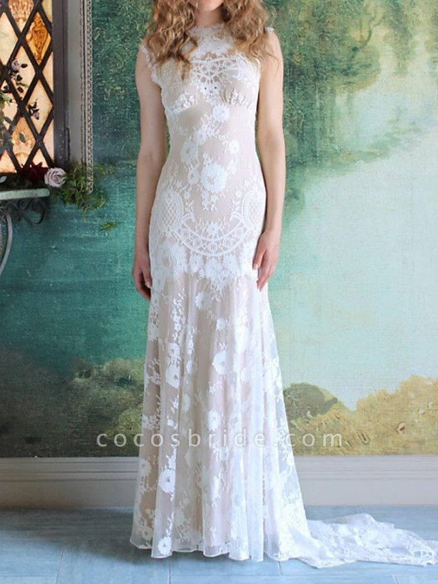 Mermaid \ Trumpet Wedding Dresses Jewel Neck Sweep \ Brush Train Lace Cap Sleeve Country
