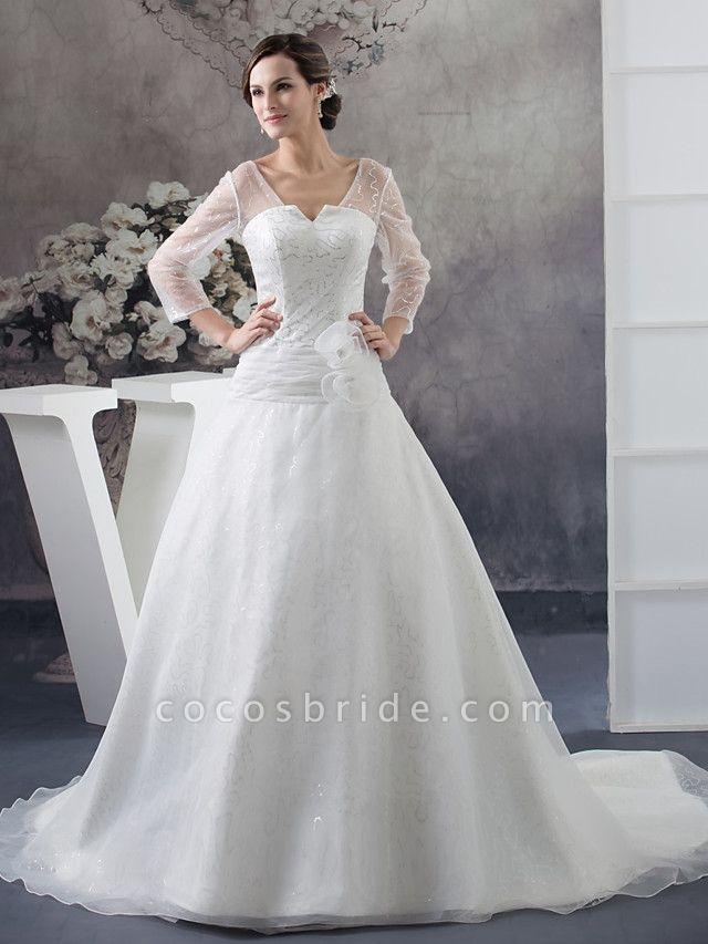 Ball Gown Wedding Dresses V Neck Chapel Train Organza Satin Long Sleeve Illusion Sleeve