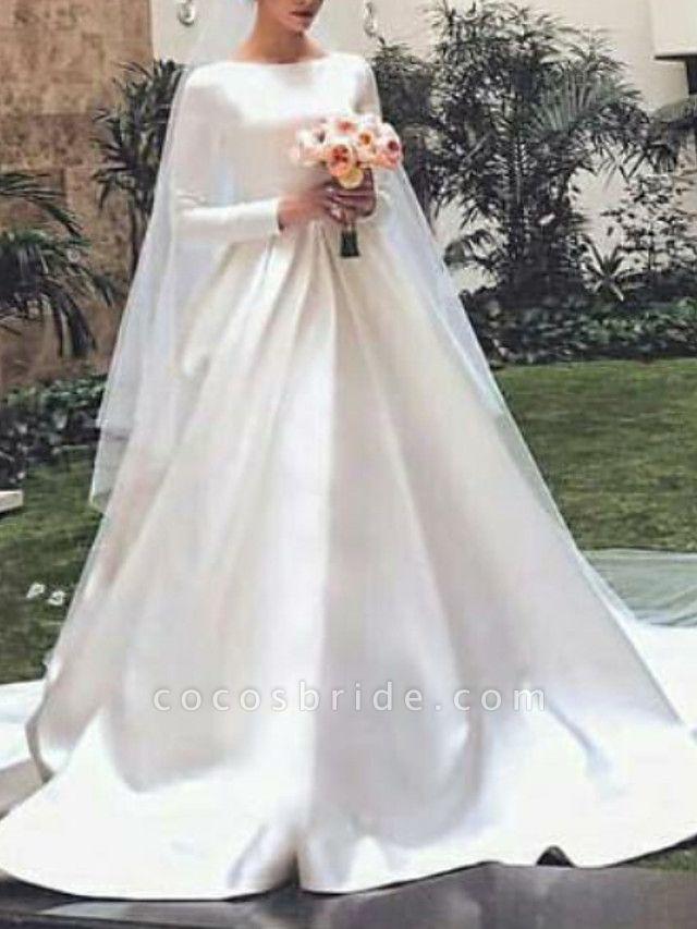 A-Line Wedding Dresses Jewel Neck Court Train Satin Long Sleeve Elegant