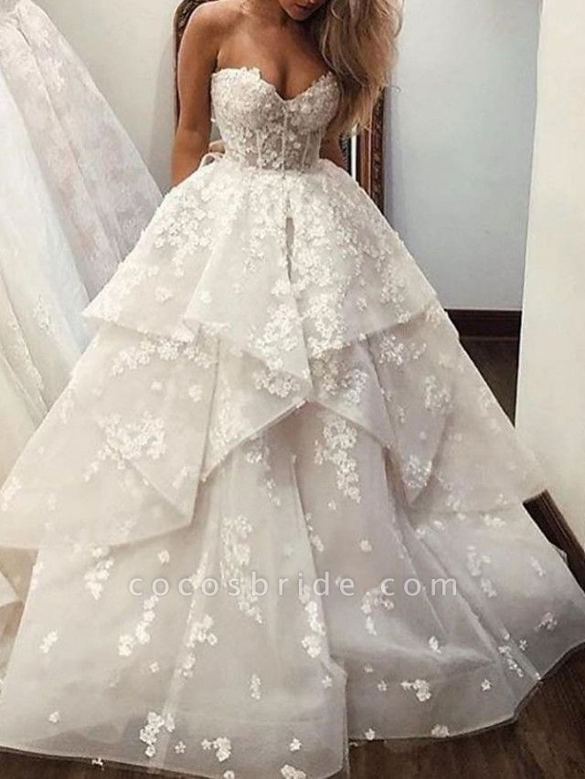 Ball Gown A-Line Strapless Sweep \ Brush Train Lace Tulle Sleeveless Country Wedding Dresses