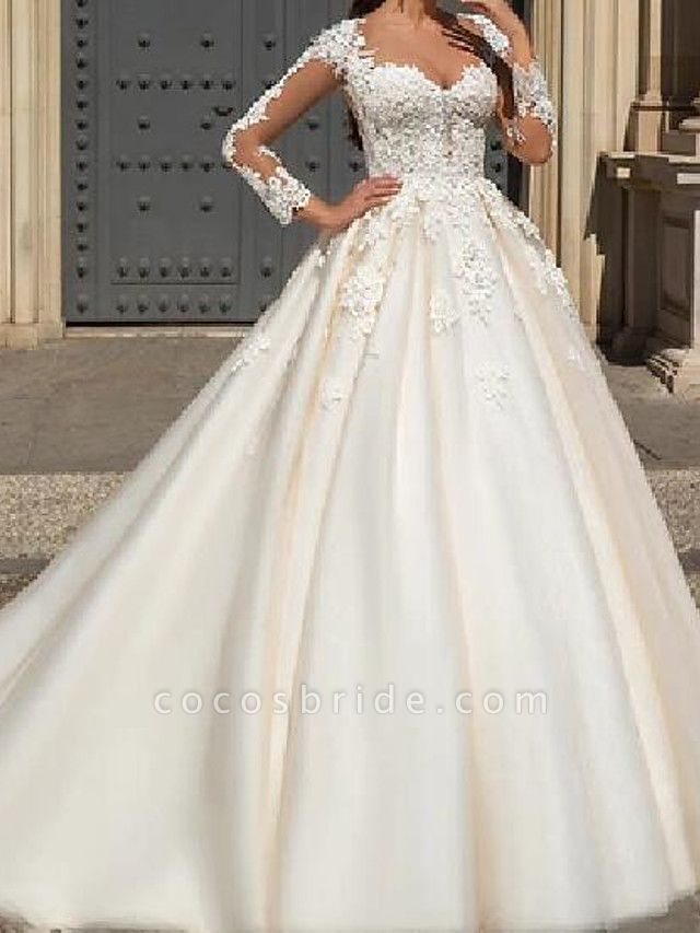 A-Line Wedding Dresses Jewel Neck Court Train Lace Tulle Long Sleeve Formal See-Through