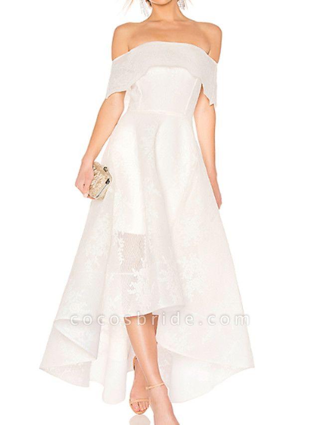 A-Line Wedding Dresses Off Shoulder Asymmetrical Ankle Length Organza Short Sleeve