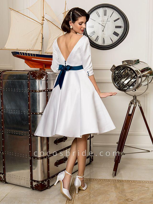 A-Line Wedding Dresses Bateau Neck Knee Length Satin 3\4 Length Sleeve Simple Casual Vintage Plus Size Cute