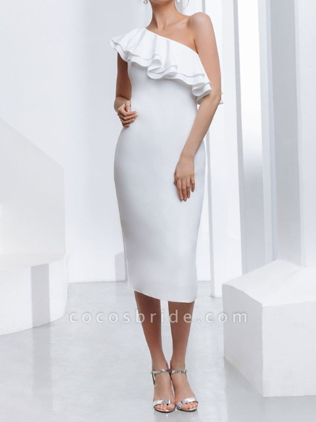 Sheath \ Column Wedding Dresses One Shoulder Tea Length Stretch Satin Sleeveless Country Plus Size