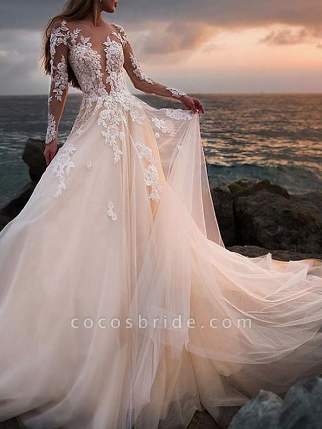A-Line Wedding Dresses Jewel Neck Court Train Lace Tulle Long Sleeve Beach Sexy See-Through