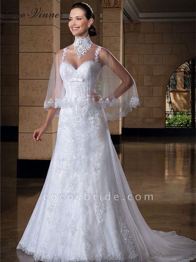 Mermaid \ Trumpet Jewel Neck Court Train Lace Tulle Regular Straps Sexy Wedding Dresses