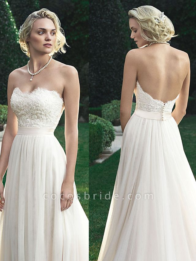 A-Line Wedding Dresses Sweetheart Neckline Court Train Polyester Strapless Beach Backless