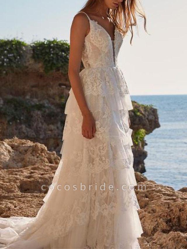 A-Line Wedding Dresses V Neck Sweep \ Brush Train Chiffon Lace Spaghetti Strap Boho