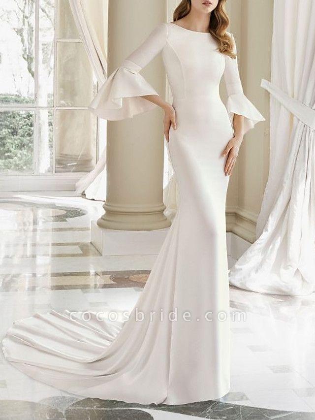 Mermaid \ Trumpet Wedding Dresses Bateau Neck Court Train Satin 3\4 Length Sleeve