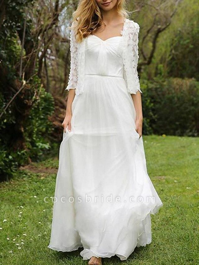 A-Line Wedding Dresses Sweetheart Neckline Floor Length Chiffon Lace Half Sleeve Simple Beach Cape