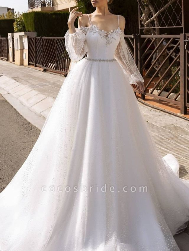 A-Line Wedding Dresses Spaghetti Strap Sweep \ Brush Train Lace Tulle Sequined Long Sleeve Formal Backless