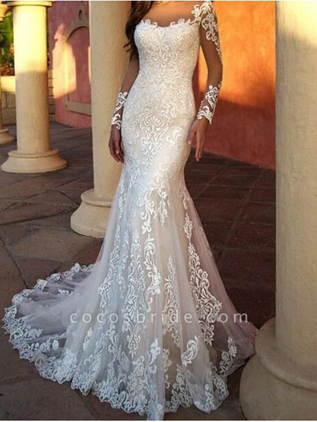 Mermaid \ Trumpet Wedding Dresses Jewel Neck Sweep \ Brush Train Lace Tulle Long Sleeve Sexy