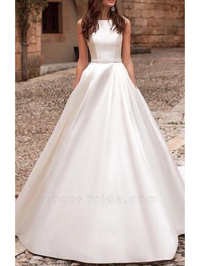 A-Line Wedding Dresses Jewel Neck Court Train Satin Regular Straps
