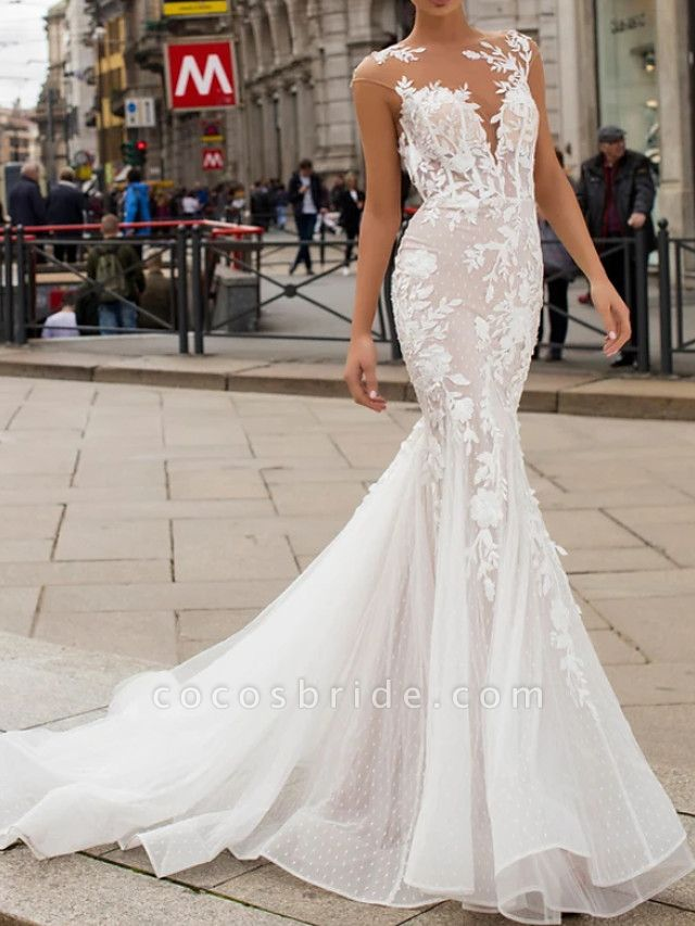Mermaid \ Trumpet Wedding Dresses Jewel Neck Sweep \ Brush Train Lace Tulle Cap Sleeve Vintage Sexy Wedding Dress in Color See-Through Backless